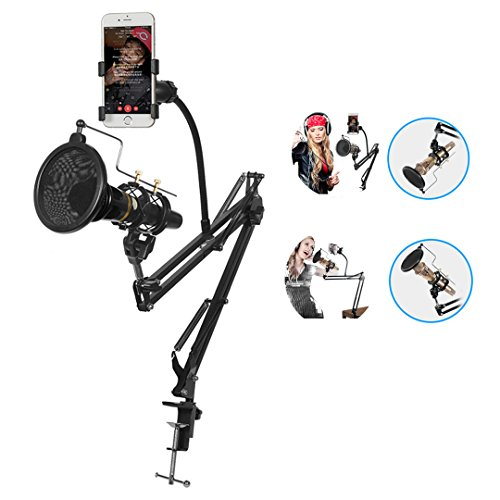 Microphone Stand with Mic Pop Filter and Universal Cell Phone Holder,Adjustable Desktop Mic Suspension Boom Stand for Live Stream Radio,Webcast,Broadcasting,Studio and Home - Stand Mic Radio