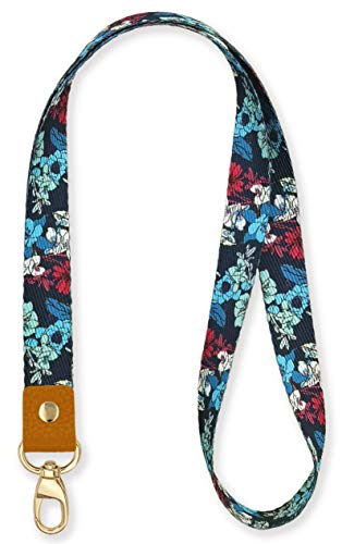 SENLLY Artsy Flowers Neck Lanyard Strap Premium Quality with Metal Clasp and Genuine Leather, for Id Badges, Card Holder, Keychain, Cell Mobile Phone, Lightweight Items etc