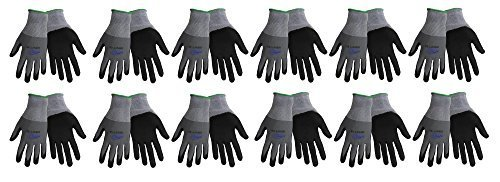 Tsunami Grip 500NFT Nitrile Coated Work Gloves Sizes Small-XL, Gray/Black, (12 Pair Pack) (Medium) (Grip Tsunami)