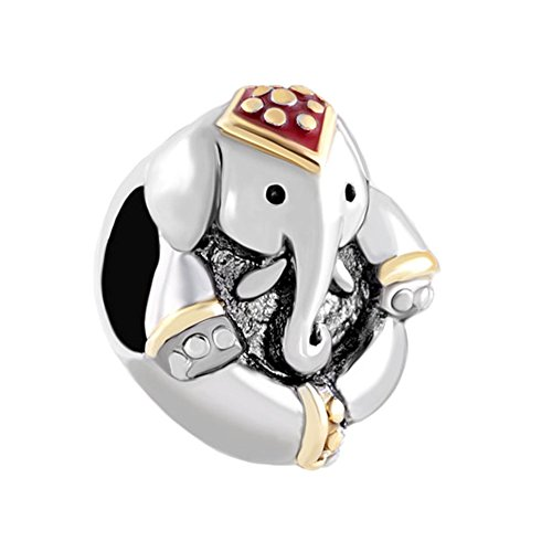 QueenCharms Lucky Elephant Charm Animal Beads For Charm Bracelets - Elephant Animal Charm