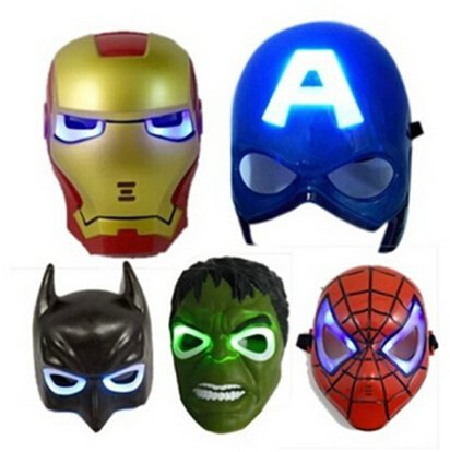 LED Glowing Light Mask Superhero Batman Spider Man Captain America Hulk Iron Man Mask For Kids Adults Party Halloween Birthday