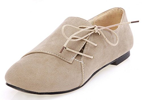 Idifu Womens Casual Ronde Neus Lage Top Slip Loafers Schoenen Faux Suede Lace Up Platte Sneakers Beige
