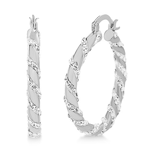 (Devin Rose Twisted 30mm Hoop Earrings for Women Made With Swarovski Crystal in Rhodium Plated)