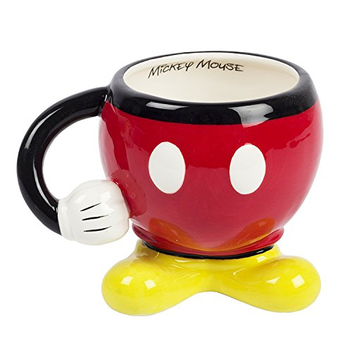Mickey Mouse Coffee Mug (Disney Mickey Mouse Red Drinking Mug with Arm)