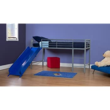 DHP Junior Twin Metal Loft Bed with Slide, Multifunctional Design, Silver with Blue Slide