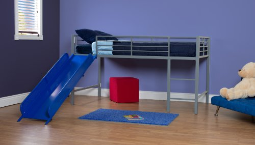 Bunk Bed - DHP Junior Twin Metal Loft Bed with Slide, Multifunctional Design, Silver with Blue Slide