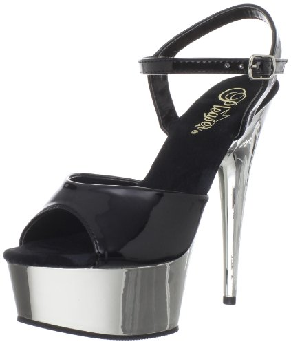 Pleaser DELIGHT-609 8441 - Sandalias de vestir para mujer Negro (Schwarz Blk/slv Chrome)