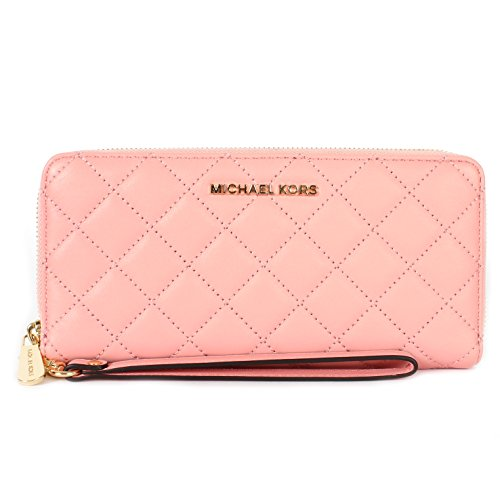 Michael Michael Kors Quilted Leather Jet Set Travel Large Continental Wristlet Pale Pink