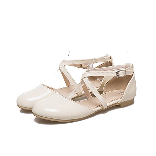 AdeeSu Womens Square Heels Metal Buckles Round-Toe Patent-Leather Flats Shoes SLC03563 Beige GVrFYBQk
