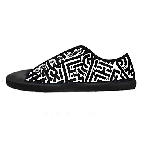 Top Canvas Lacci Chiusura CHEESE con Design Sneaker Donna Low Traspirante Graffiti Scarpe da Personalizzato Flat Classico Nero XUxFxS8wvq