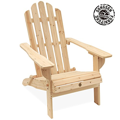 Adirondack Lounge Chair Set (Songsen Unfished Outdoor Wooden Folding Adirondack Chairs Patio Deck Garden Furniture (Adult,Natural))