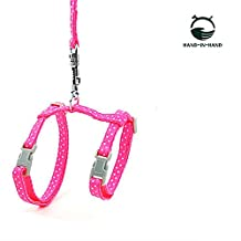 """HAND-IN-HAND 2pcs Set Polka Dot Harness & Leash 0.3""""*47.2"""" for Pet Small Dog Cat Pink"""