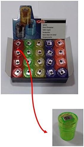 Caja de 20 unidades, sacapuntas metálico de 1 uso y con deposito.: Amazon.es: Oficina y papelería
