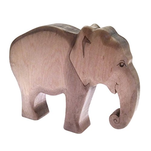 HandWoody Wooden Animal Elephant Handmade Handpainted Wood Figure - Home Decor - Collectible Figurine - Natural Toy - Souvenir