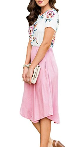 Round Classic Floral Women's Mini Pocktes Domple Print Sleeve Neck Dress Short Pink ZOx6cq