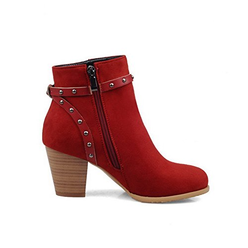 AmoonyFashion Womens Round Closed Toe Low-top High-Heels Solid Imitated Suede Boots Red EvIcyU