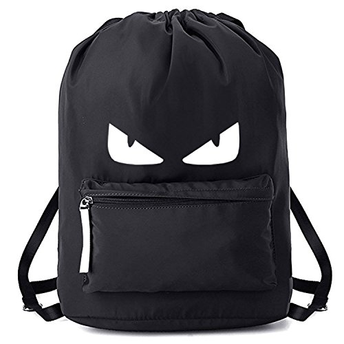 Drawstring Bags Gymsack Students Casual Backpack Unisex College School Style Sport Gym Yoga Backpacks (Black)