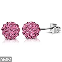 6mm | Stainless Steel Argil Disco Ball Shamballa Stud Earrings w/ Light Pink Red CZ (pair) - XRY448