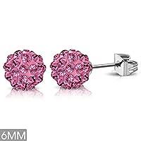 6mm | Stainless Steel Argil Disco Ball Shamballa Stud Earrings w/ Light Pink Red CZ (pair) - XRY448