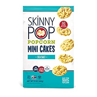 SkinnyPop Popcorn Mini Cakes, Sea Salt, Gluten-free Popcorn,Non-GMO Vegan Snack, 5 Ounce (Pack of 12)