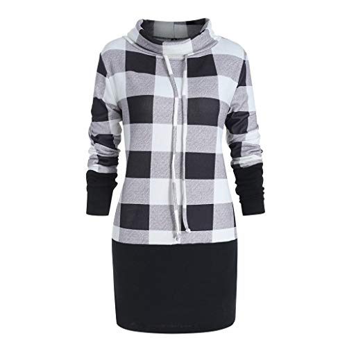 - Women Plaid Print Bow Sweatshirt Pullover Cowl Neck Long Sleeve Tops Blouse