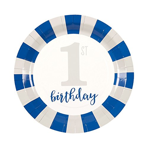 Boys First Birthday Party Supplies - Serves 24 - Includes Plates, Knives, Spoons, Forks, Cups and Napkins. Perfect 1st Birthday Party Pack for Kids Boy Birthday Themed Parties.