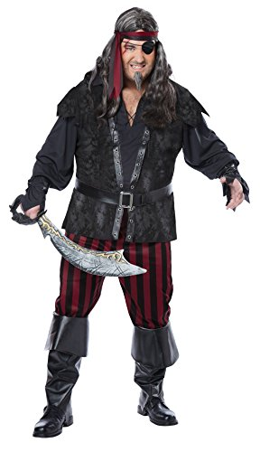 (California Costumes Men's Plus-Size Ruthless Rogue Pirate Buccaneer Swashbuckler Plus, Black/Red, Plus)