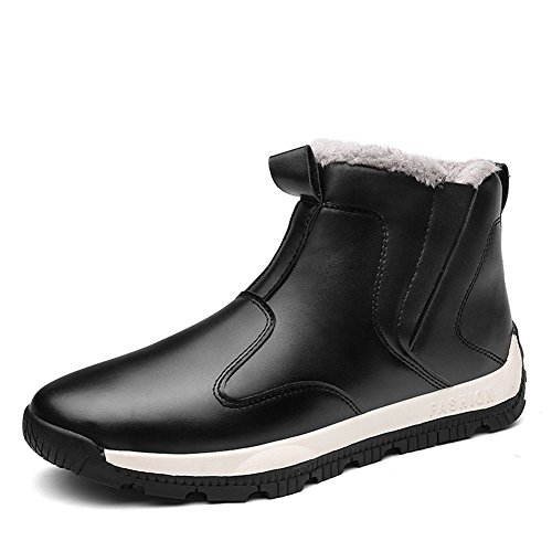 CIOR Men and Women PU Leather Waterproof Boots Ankle Sneakers Warm Rain Snow Shoes-CAND072-black.39