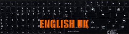 REPLACEMENT ENGLISH UK KEYBOARD STICKER BLACK BACKGROUND