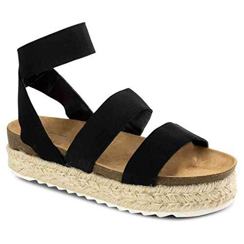 Womens Summer Comfort Espadrille Platforms Sandals Open Toe Elastic Straps Espadrille Wedge Sandals (Black,7.5 M US)