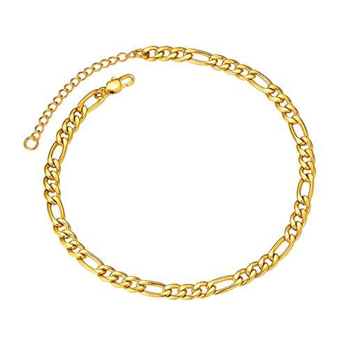 - Anklet Bracelets for Women Men 18K Gold Plated Figaro Chain 5mm 10