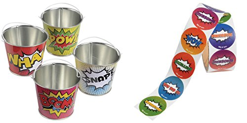 Super Hero Comic Book Themed Assorted Stickers & Mini Metal Buckets - 18 Pack + 200 Stickers -