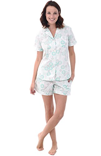 Alexander Del Rossa Womens Woven Cotton Pajama Set with Shorts, Button Down Pjs, Small Green Circles on Cream (A0502P43SM)