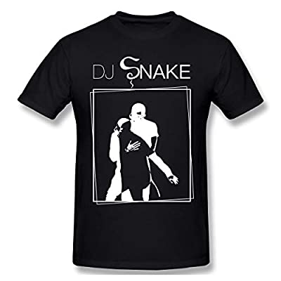 Shijinzi Men Snake Wild Animal Singer DJ Record Producer Cool T-Shirts Black with Short Sleeve