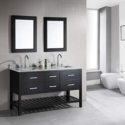 Design Element Dec077c London 61 Inch Double Sink Vanity Set With Open Bottom Espresso