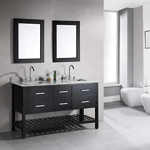 Design Element DEC077C London 61-Inch Double Sink Vanity Set with Open Bottom, Espresso