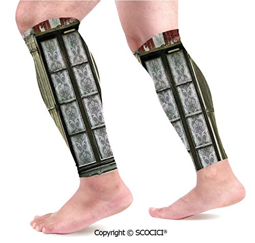 Flexible Breathable Comfortable Leg Skin Protector Sleeve European French Window with Antique Open Shutters Print Vintage Style Home Decor Calf Compression Sleeve ()
