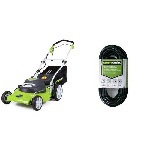 Greenworks 20-Inch 12 Amp Corded Lawn Mower 25022 with 50-Foot Indoor &...