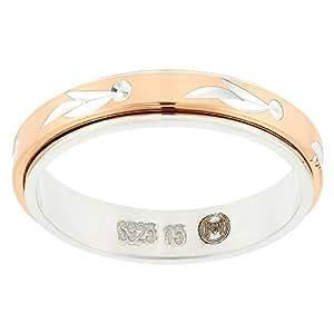 Aurora Women's Silver Rose Gold Dubla Ring