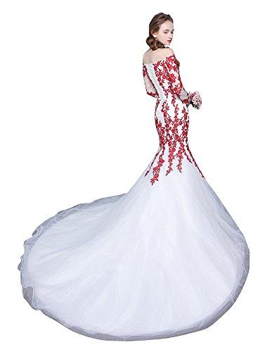 barca bianco Abito Rosso in Train pizzo Collo Beauty Chaple da a Emily sposa 4ESqwWX