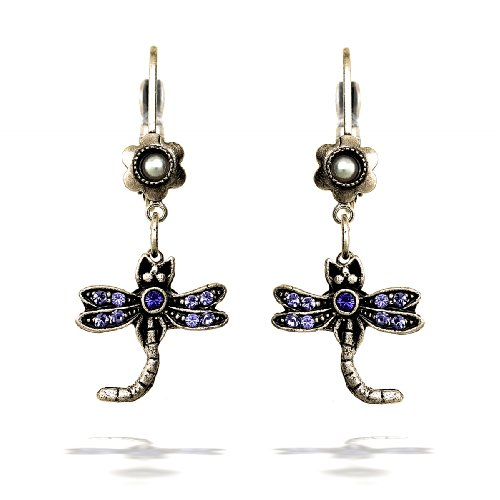 La Contessa Violet Dragonfly Earrings with Swarovski Crystals by Mary DeMarco - E8533 ()
