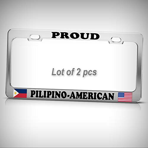 Set of 2 Pcs - Filipino Philippines American Flags Heavy Duty Metal Tag Holder License Plate Frame Decorative Border BOR