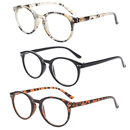Gudzws Fashion Reading Glasses Spring Hinges Classic Round Plastic PC Frame Clear Magnification Lens Readers for Unisex Women Men 3 Pack +3.50