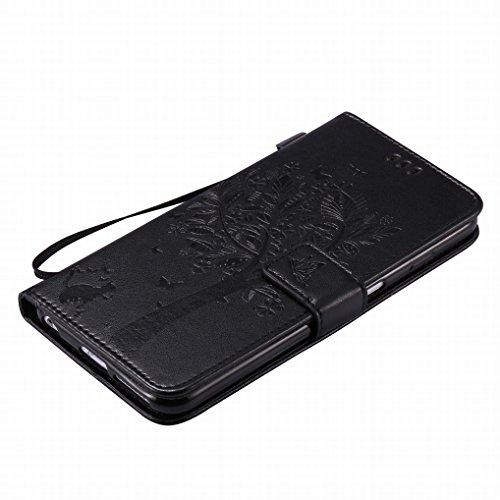 Yiizy Apple IPhone 6 Plus (IPhone 6s Plus) Hülle, Baum-Muster Entwurf PU Ledertasche Klappe Beutel Tasche Leder Haut Schale Skin Schutzhülle Cover Case Stehen Kartenhalter Stil Bumper Schutz (Schwarz)