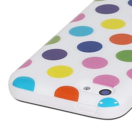 Fosmon DURA-POLKA Polka Dot Entwurf TPU Case Cover hülle für iPhone 5c - Weiß mit Rain Dots