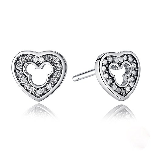 Mickey Mouse Earrings Heart - ERLUER 925 Sterling Silver Mickey Mouse Stud Earrings Sparkling Cubic Zirconia Gifts for Women Girls Wedding Jewelry Earring (Heart Mickey Earrings)
