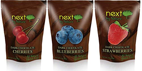 Next by Nature Dark Chocolate Fruit Variety Pack (3 oz Cherry, Strawberry, Blueberry) (Pack of 3)