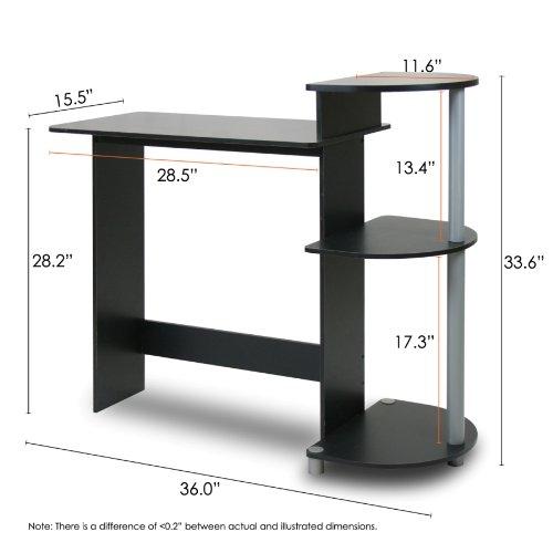 Furinno 11181bk Gy Compact Computer Desk Black Grey