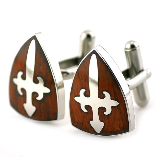 - PenSee Rare Stainless Steel & Red Wood Cross Peltate Cufflinks for Men with Gift Box
