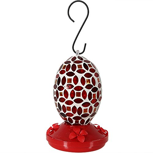 - Sunnydaze Decor Red Mosaic Glass Flower Hummingbird Feeder, Red, 7 Inch